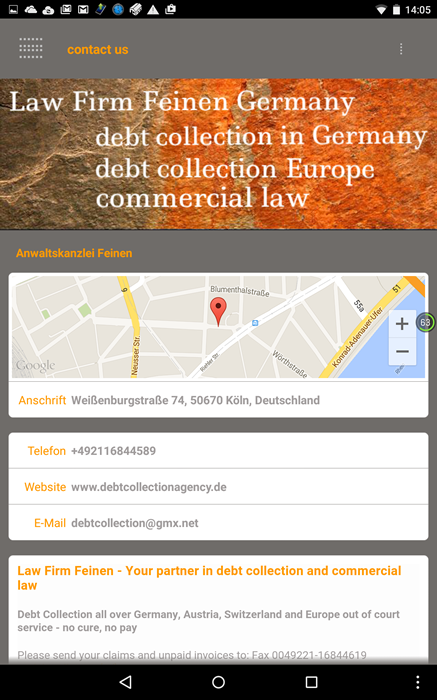 debt collectors claim management Germany Europe Lawyer Law Firm international law commercial law contract law